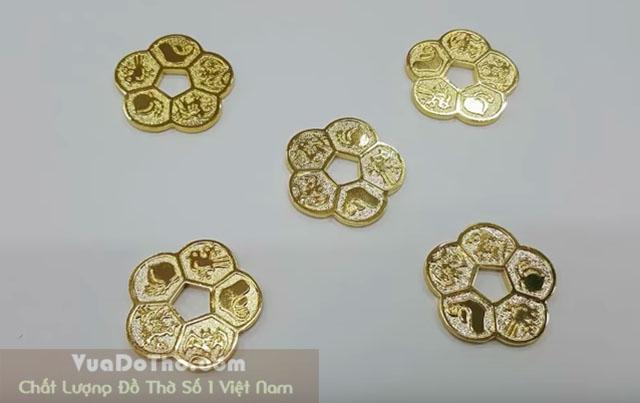 5 Đồng hoa mai vàng ngũ phúc lâm môn